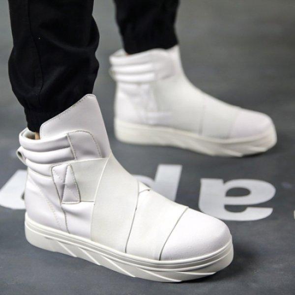 画像1: British high-top shoes メンズイギリス調ハイカットレザーブーツスニーカー シューズ (1)