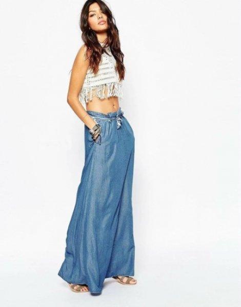 画像1: Soft Denim Jeans Maxi Skirt ソフトデニム テンセルロングマキシフレアースカート (1)