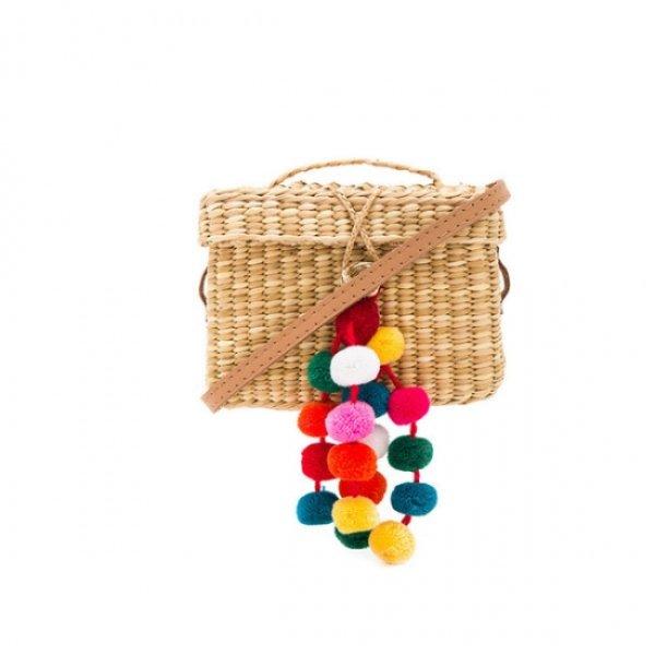 画像1: Women's Baby Roge Pom Pom Tote Straw Cross-Body Shoulder Bag 四角ポンポン付ストローショルダーバッグかごバッグバスケットカゴバッグ (1)