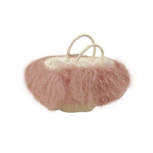 画像1: women's  wool fur grass straw handcuffs hand shoulder basket bagリアルモンゴリアファー付きバスケットかごトートバック (1)