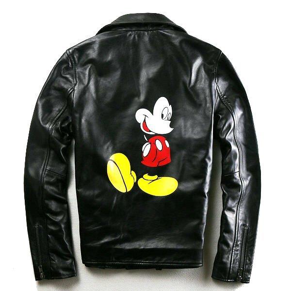 画像1: Unisex Mickey Leather Riders Jacket バックミッキー本革本皮リアルラムレザーライダースジャケット (1)