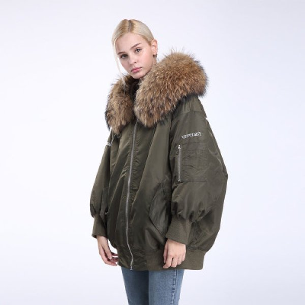 画像1: Oversize Real Fur MA-1 Coat オーバーサイズ リアルファー付MA-1コート ショート丈 (1)