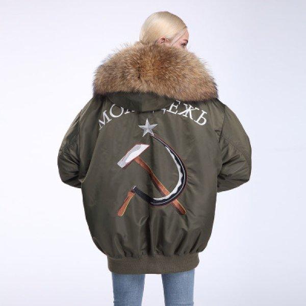 画像1: New Oversize Real Fur MA-1 Coat オーバーサイズ リアルファー付MA-1コート ショート丈 (1)