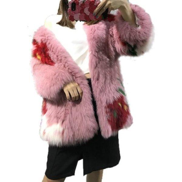 画像1: Real fox fur strawberry big hit color  jacket  fur coat  リアルフォックスファーストロベリー柄コート ジャケット (1)