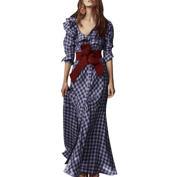 画像1: plaid bow waist shirt dress フリルVネックチェック柄長袖ロングマキシドレスワンピース  (1)