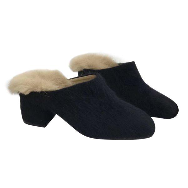 画像1: women's rabbit fur square head heel Mules shoes  half palm slippers   リアルラビットファーハーヒールサンダル ミュールスリッパ (1)