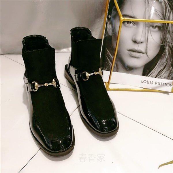 画像1: women's  Patent leather square head flat casual Martin boots short boots  パテントレザーフラットショートブーツ (1)
