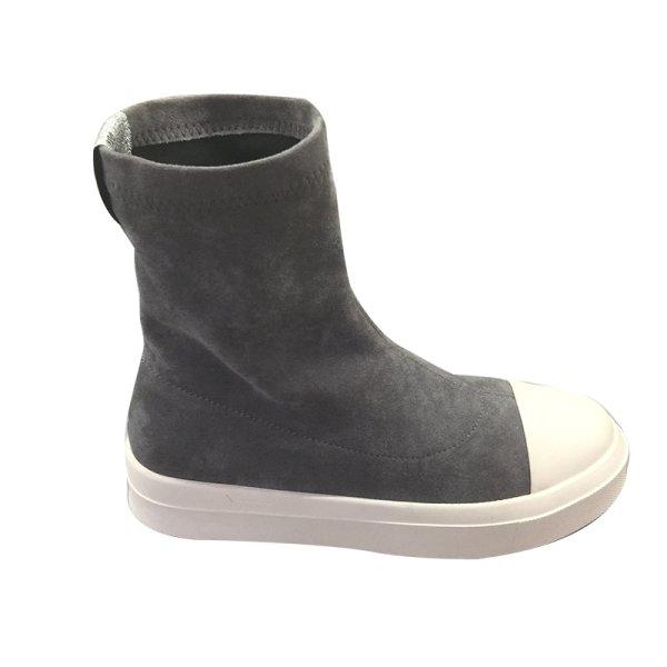 画像1: women's  suede  low heel boots short boots 本革スウェードフラットブーツ (1)
