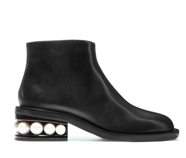 画像1: Women's Leather ankle flat pearl and boots 本革レザーパール付フラットショートブーツ (1)