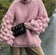 画像4: Women's Handmade Sweater Cuddle Up Loose large size Coarse lines ultra-Thick Coat Ahududu Hırka ハイネックポンポン付ざっくりニットセーターコート (4)