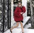 画像10: Women's Handmade Sweater Cuddle Up Loose large size Coarse lines ultra-Thick Coat Ahududu Hırka ハイネックポンポン付ざっくりニットセーターコート (10)