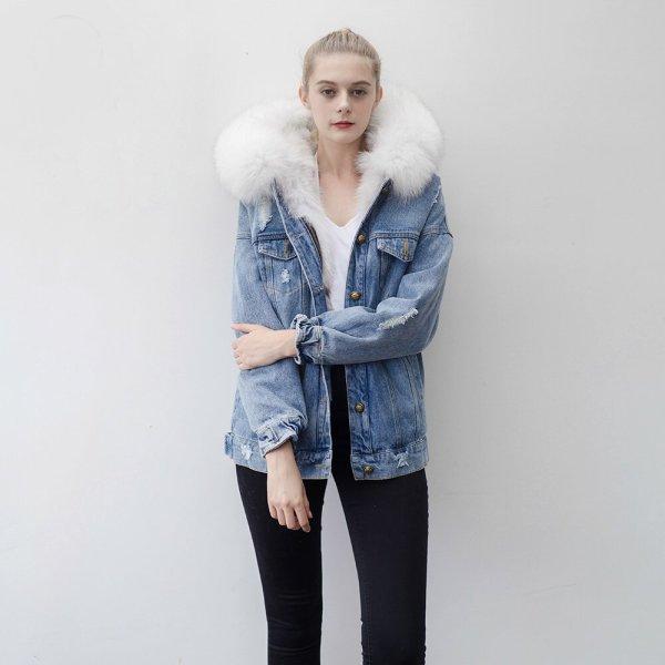 画像1: Real Fox Fur Real Fur Liner Denim Jeans Jacket Coat リアルフォックスフ&ライナー付デニムGジャンコート (1)