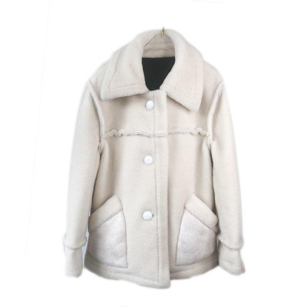画像1: sheep shearing stitching Haining fur coat  jacket シープスキンステッチコート ジャケット (1)