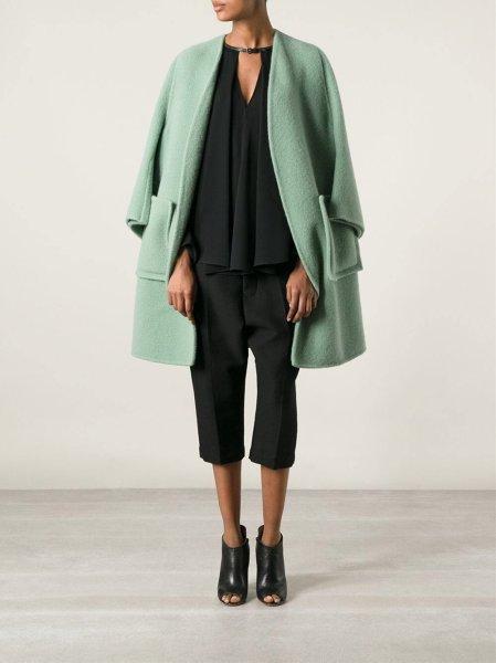 画像1: women's   light green long section large pocket loose  wool warm coatシンプルノーカラーライムグリーンコート ジャケット (1)