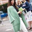画像7: women's   light green long section large pocket loose  wool warm coatシンプルノーカラーライムグリーンコート ジャケット (7)