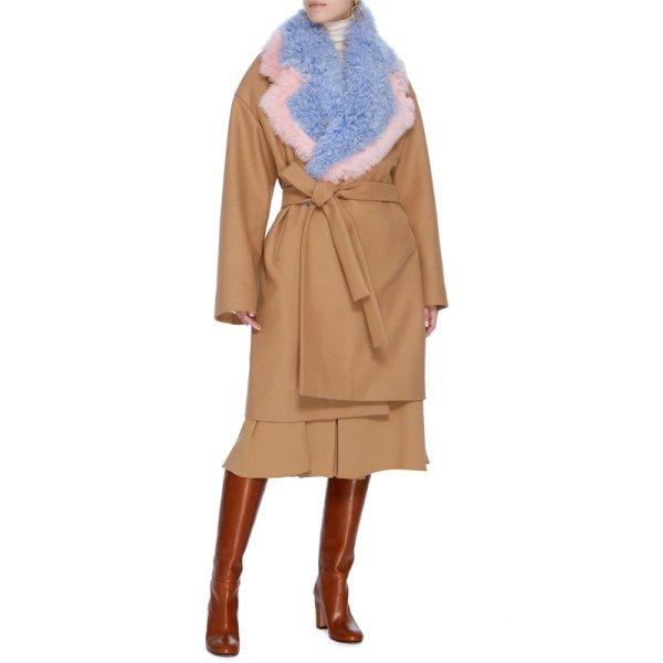 画像1: women's  luxury fur collar camel double-faced coat jacket リアルフォックス&シープスキンファー襟付コート ジャケット (1)