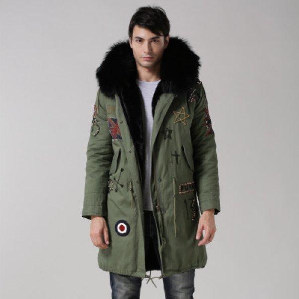 画像1: メンズワッペン付 メンズ Mens Real Fox Fur Real Fur Liner Hoodie Military Coat Long リアルファーフード&ライナー付ミリタリーモッズコート (1)