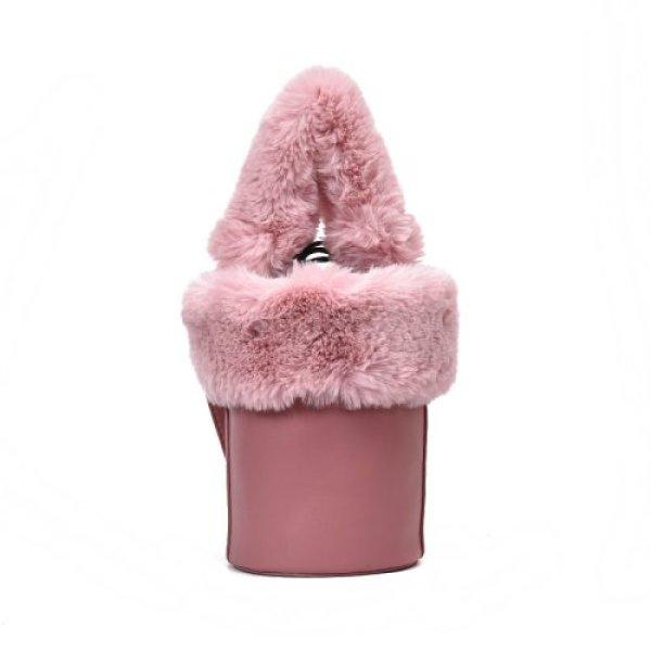 画像1: Small with fur plush bucket tote shoulder Messenger bagファー付トート ショルダースモールハンドバッグ (1)