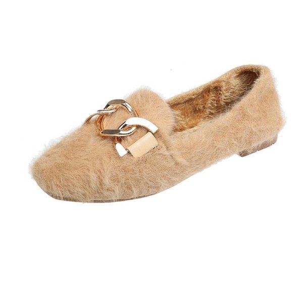 画像1: Women's  rabbit hair peas shoes flat shoesフラットチェーン付ラビットファーパンプスローファー  バレーシューズ (1)