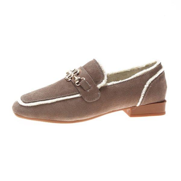画像1: Women's fur plus velvet leather frosted square head flat shoesフラット金具付スエードレザーパンプスローファー  バレーシューズ (1)