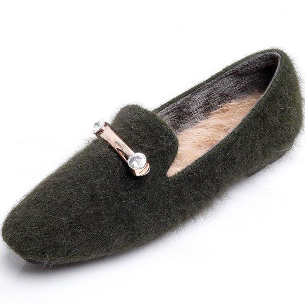 画像1: Women's fur flat shoesフラットモコモコパンプスローファーシューズ (1)