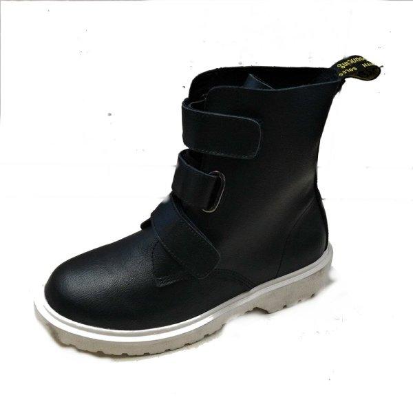 画像1: women's  leathe Velcro slip single boots 本革レザーベルクロスリップシングルブーツ マーティンブーツ (1)
