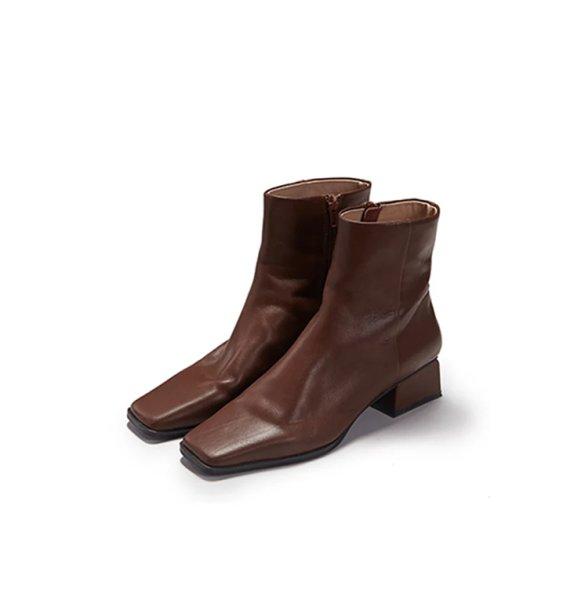 画像1: women's square head  ankle boots レザーシンプルアンクルブーツ ブーティ (1)