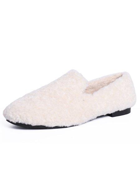 画像1: Women's flat Fake Sheepskin Eco Flat Loafers Shoes シープスキンローファーフラットシューズ (1)