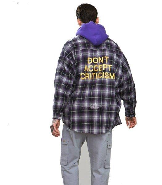 画像1:  oversize hot stamping ribbon splicing men's plaid shirt  オーバーサイズバックロゴレター入りチェックシャツ  (1)