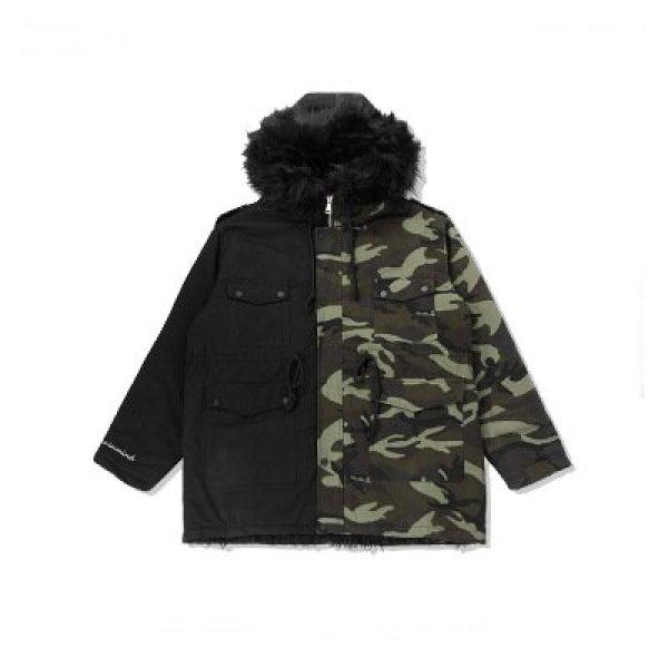 画像1:  camouflage drawstring waist loose long men's cotton coatメンズカモフラージュ&ブラックモッズコート (1)