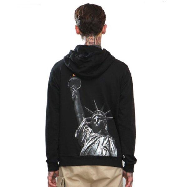 画像1:  free goddess printing men's hooded sweater自由の女神バックプリントフーディーパーカー (1)