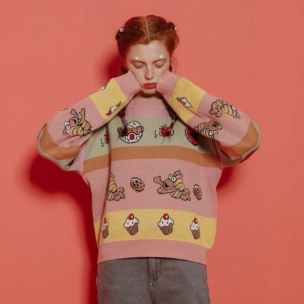 画像1: Sesame Street Elmo & Cake Sweater セサミストリート エルモ ケーキ柄 セーター (1)