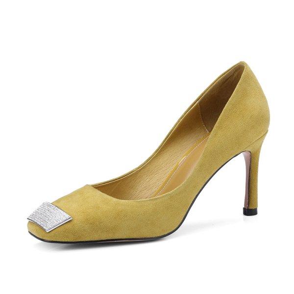 画像1: Women's  rhinestone leather high heels pumps  Shoes ラインストーン付きリアルスエードレザーハイヒールパンプス (1)