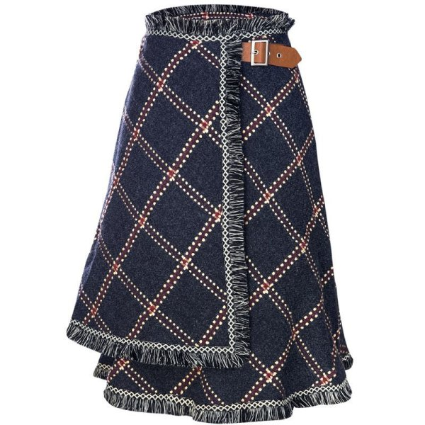 画像1: Women's  irregular tassel hairy long cloth skirt タッセル&フリンジチェックスカート (1)
