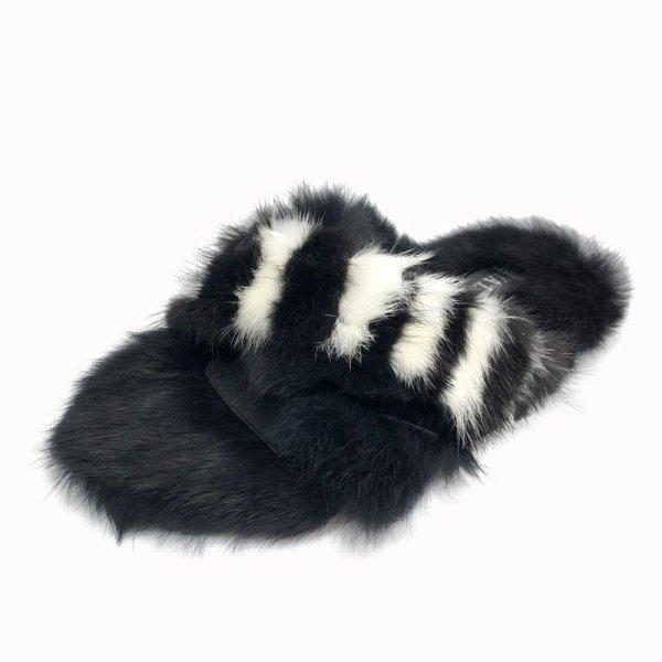 画像1: women's rabbit furflat slippers モコモコリアルラビットファースリッパサンダル  (1)