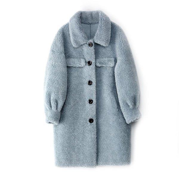 画像1: Women's sheep shearing coat  wool coat  jacket シンプルロングシープスキンコート ジャケット (1)