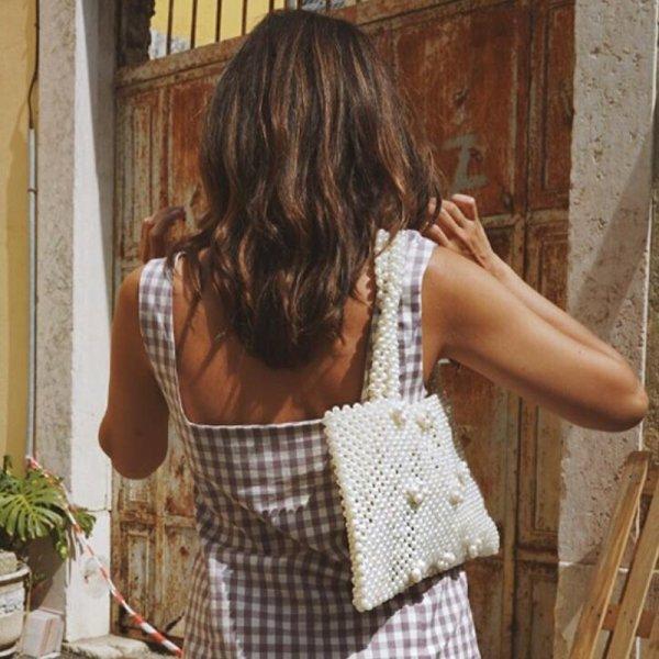 画像1:  hand-woven Spanish pearl Tote bag ハンドメイドスペインスタイルパールトートショルダーバック (1)