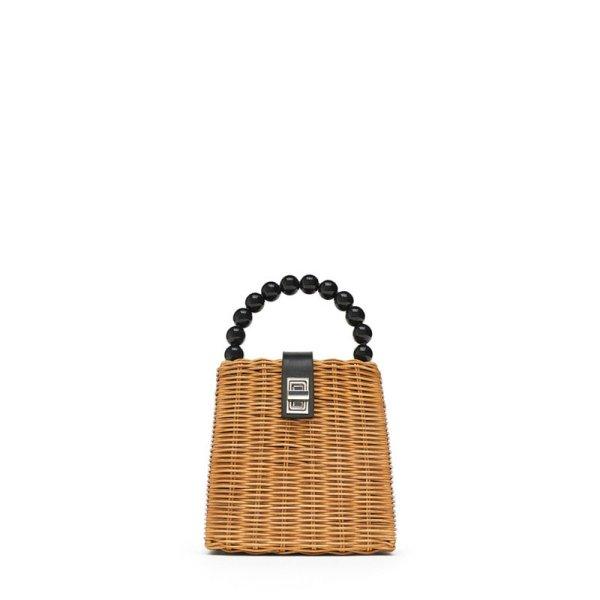 画像1:  samll straw tote  Shoulder 2way Bag ブラックパールの持ち手のバスケット型トートショルダーかご籠バック (1)