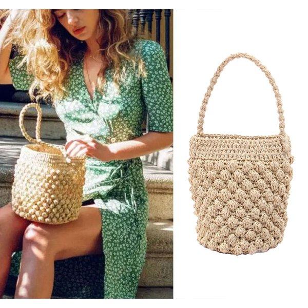 画像1: new bucket straw bag woven bag バケットトートバック ハンドメイド (1)