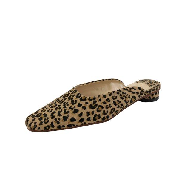 画像1: Women's Flat Mule Sandals Pumps low-heeled half slippers フラットミュール パンプス サンダル (1)