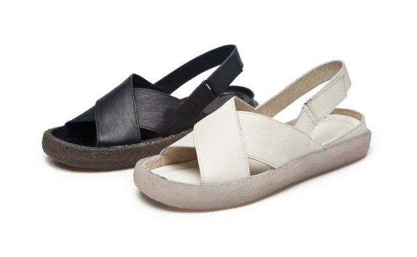 画像1: women's flat leather  bottom slip simple casual flat sandals slippersシンプルレザーサンダルスリッパサンダル  (1)
