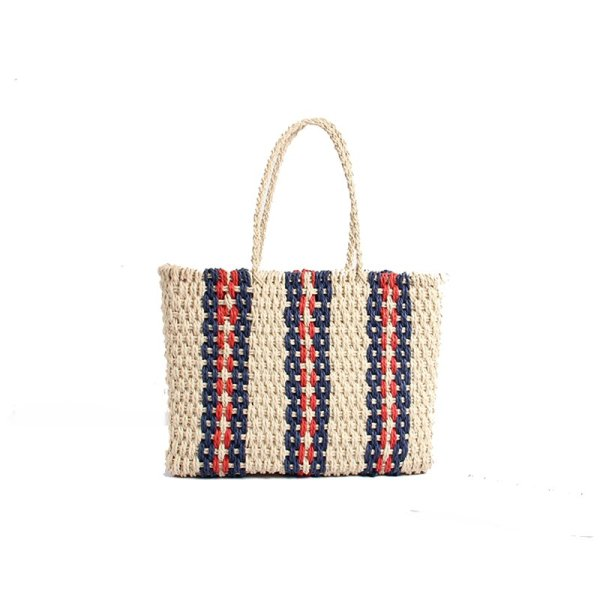 画像1:  natural  large-capacity hand-woven bag straw stripes  tote bag ストライプ ボーダーストローかごバック  トートバッグ  (1)