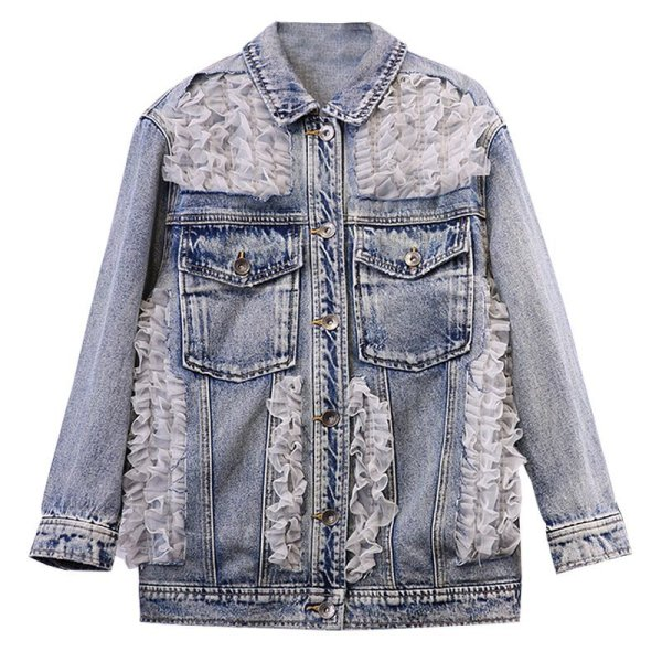 画像1: Womens  sweet lace stitching denim jacket Coat レースフリル付きオーバーサイズデニムジャケット Gジャン (1)