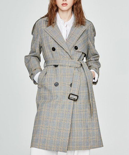 画像1: Womens new houndstooth high-density wind long  Trench Coats Windbreakers  jacket Coat チェック格子トレンチコート ジャケッ (1)