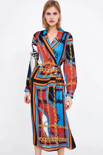 画像1: women's chain printed shirt dress Long-sleeved dressチェーンプリント膝丈ドレス ワンピース (1)