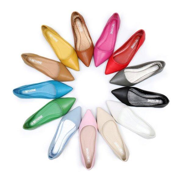 画像1: Women's pointed flat shoes カラフルカラーのフラットパンプス ペッタン 楽ちんシューズ (1)