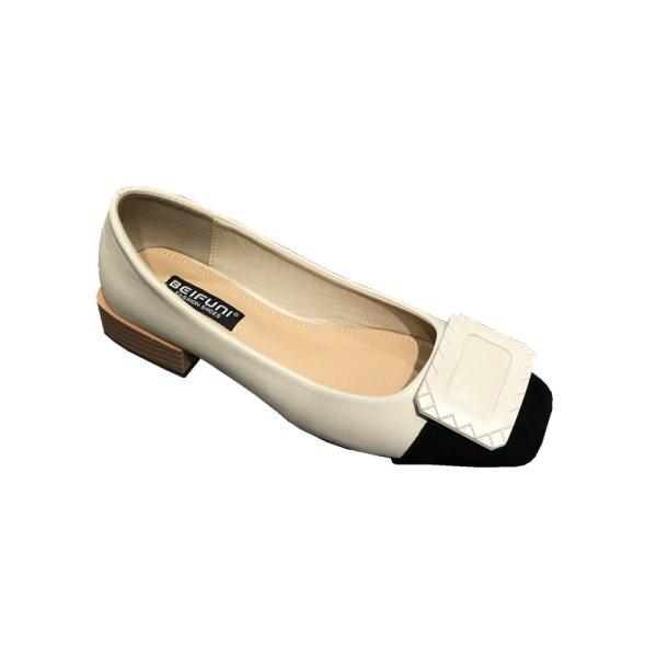 画像1: Women's  square buckle gentle wind fairy shoes sandals Mules バックル付フラットバイカラーパンプス ミュール (1)