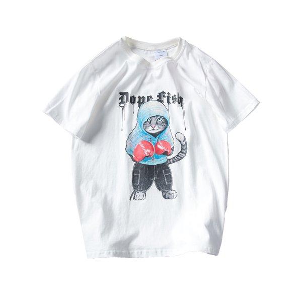 画像1: Men's Boxing Cat Print Short Sleeve T-Shirt ボクシングキャットプリント半袖Tシャツ (1)