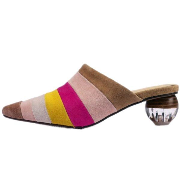 画像1: Women's suede color matching pointed thick high-heeled shoes pumps sandals Mules本革 スエードボーダーミュール パンプス ミュール (1)