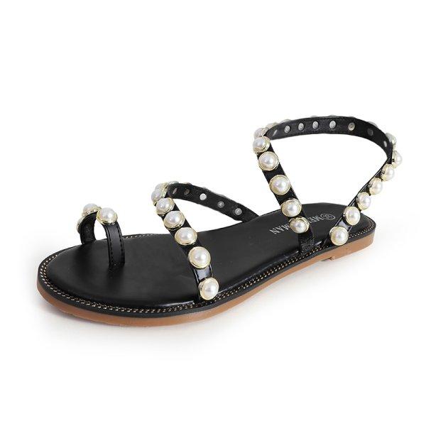 画像1: women's flat  pearls sandals  slippersパールサンダルスリッパサンダル (1)